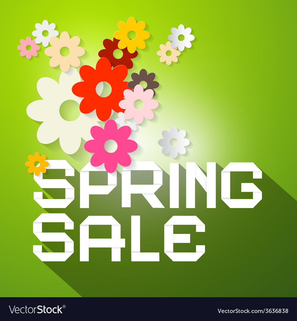Spring sale with colorful paper cut flowers vector   Price: 1 Credit (USD $1)
