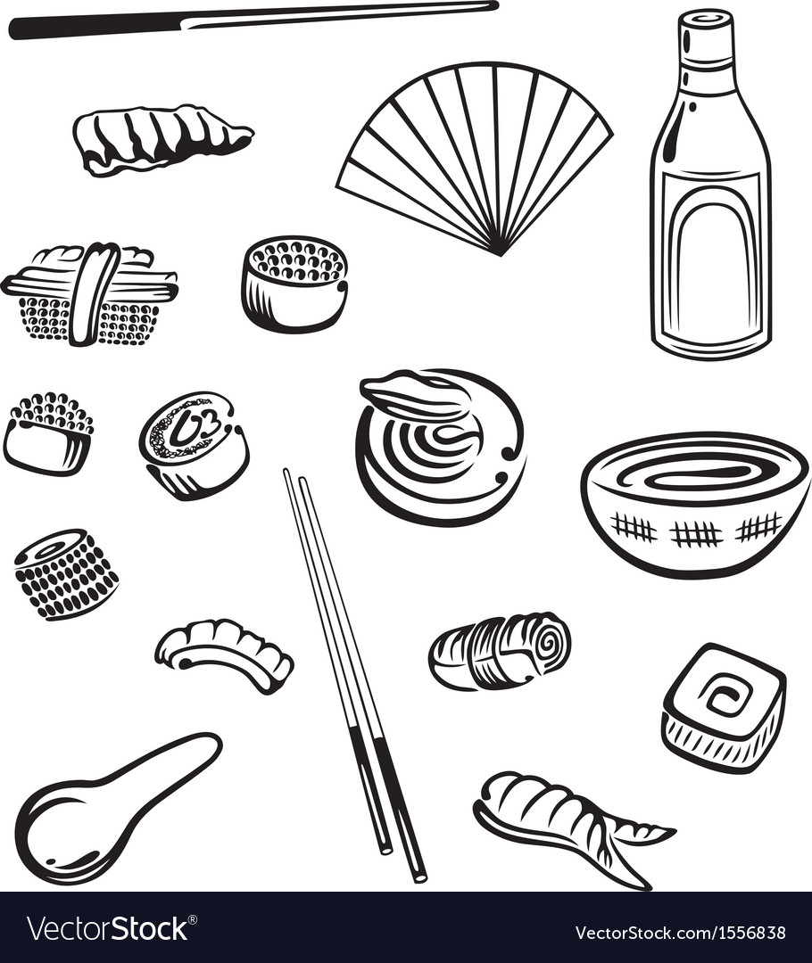 Sushi food asian vector | Price: 1 Credit (USD $1)