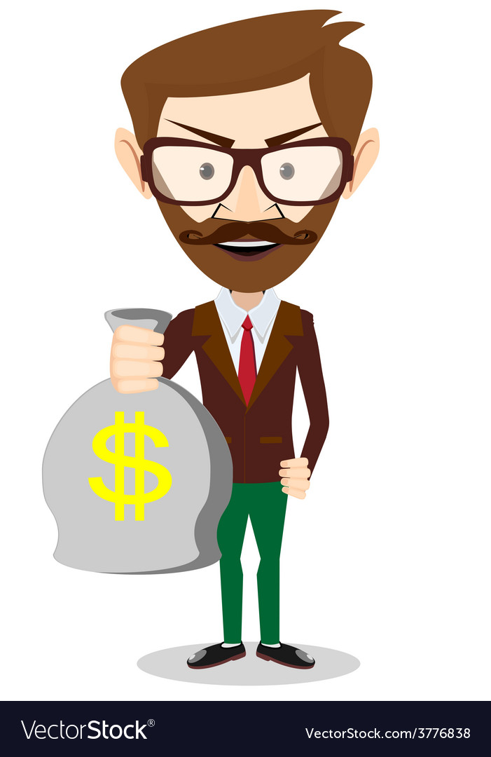 Young smiling businessman holding a bag of money vector | Price: 1 Credit (USD $1)