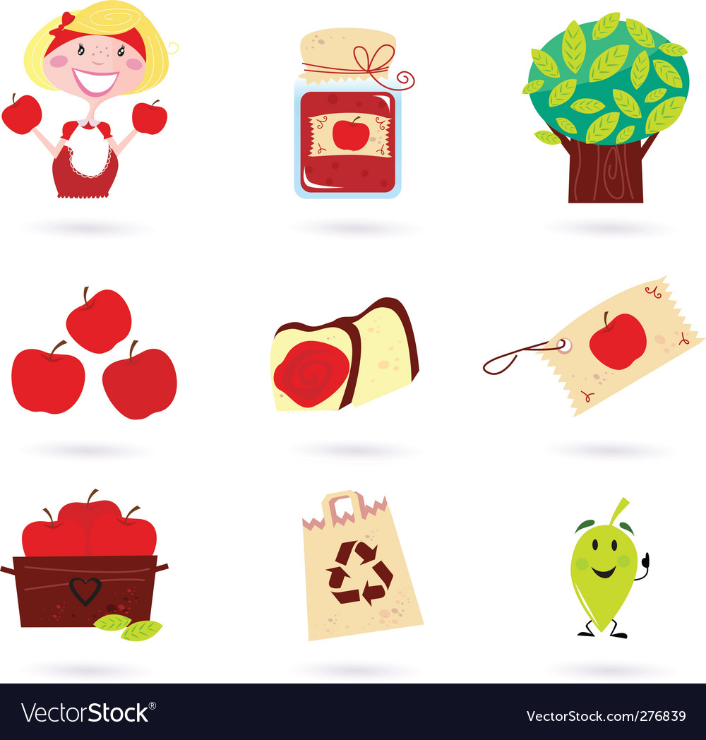 Autumn apple icon set vector | Price: 1 Credit (USD $1)