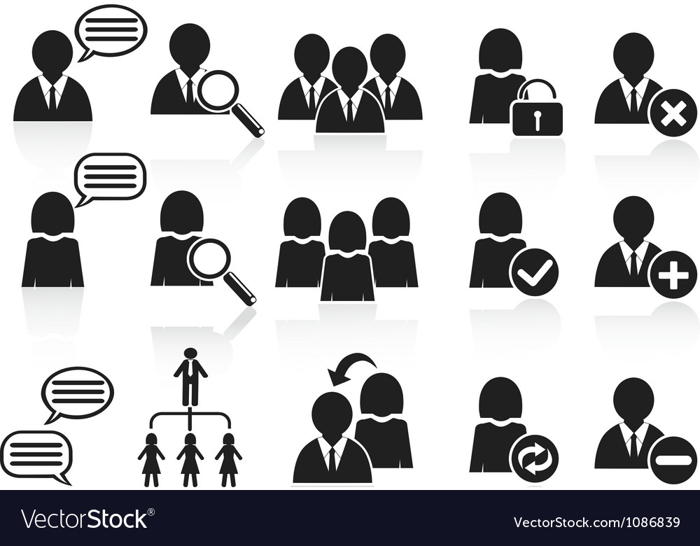 Black social symbol people icons set vector | Price: 1 Credit (USD $1)