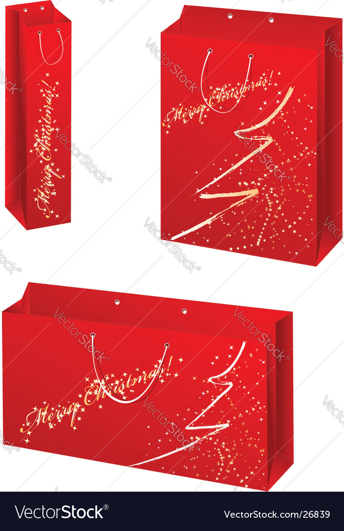 Christmas paper bag set vector | Price: 1 Credit (USD $1)