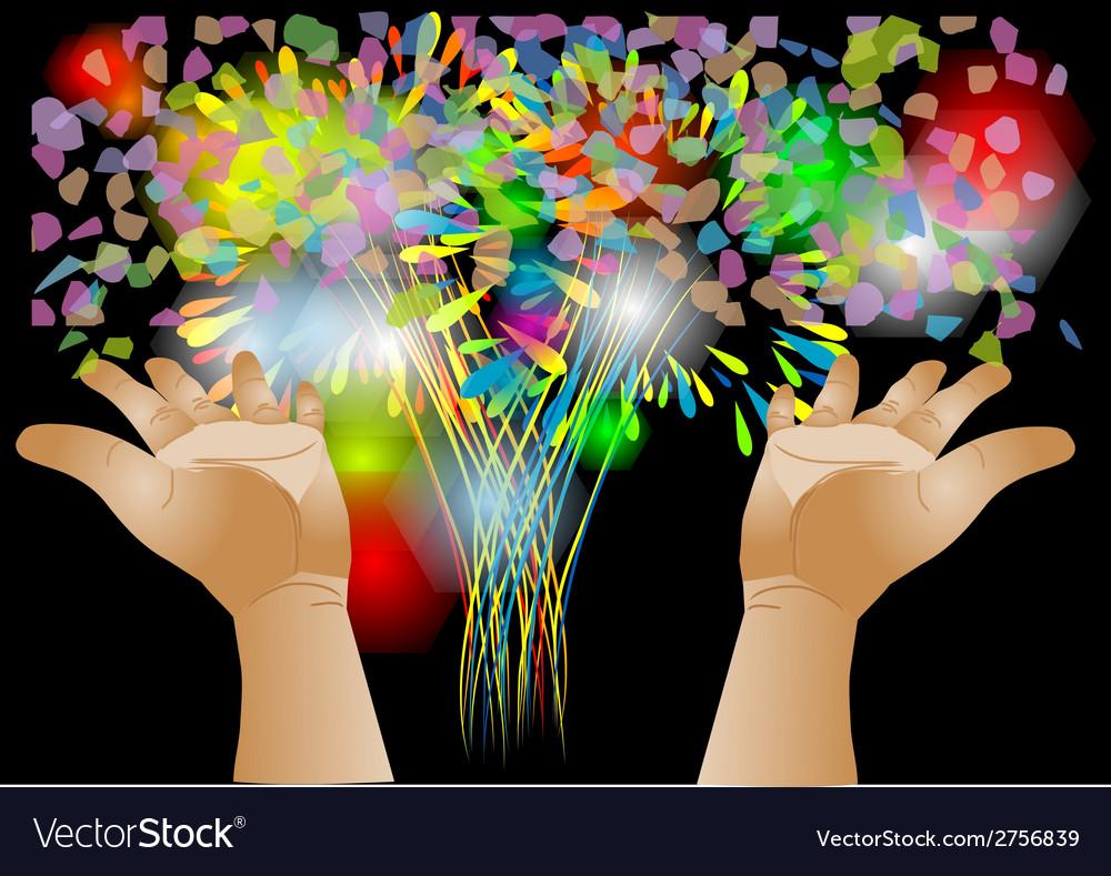 Confetti and hand vector | Price: 1 Credit (USD $1)