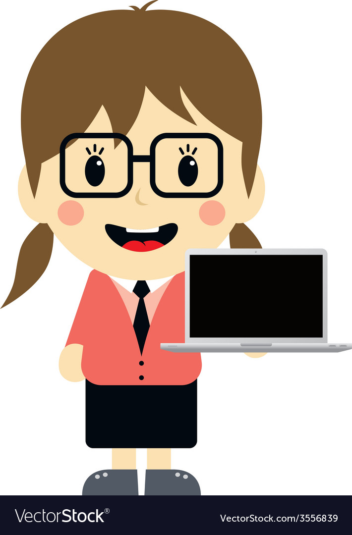 Cute girl with laptop cartoon character vector | Price: 1 Credit (USD $1)