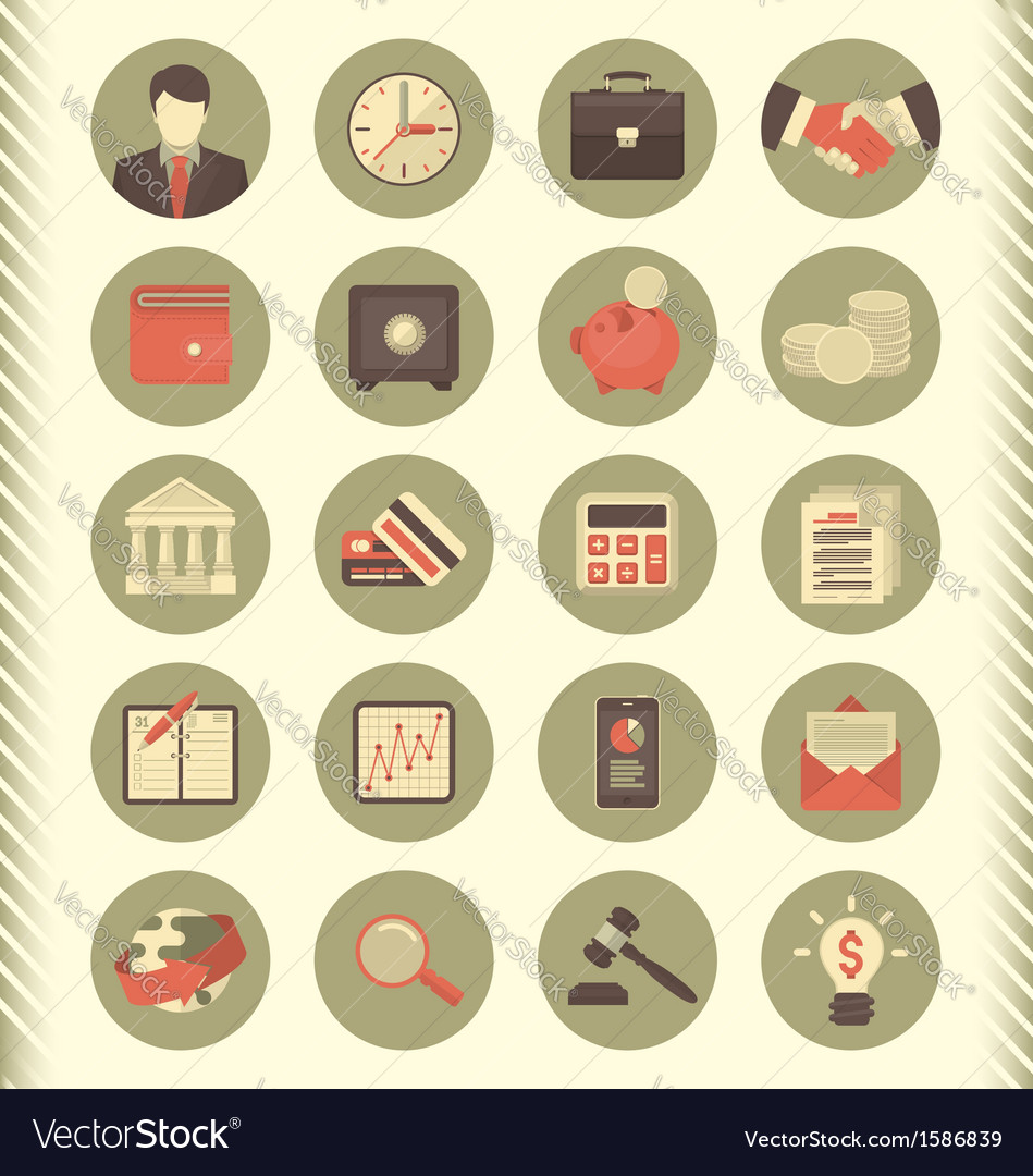 Financial and business icons gray set vector | Price: 1 Credit (USD $1)