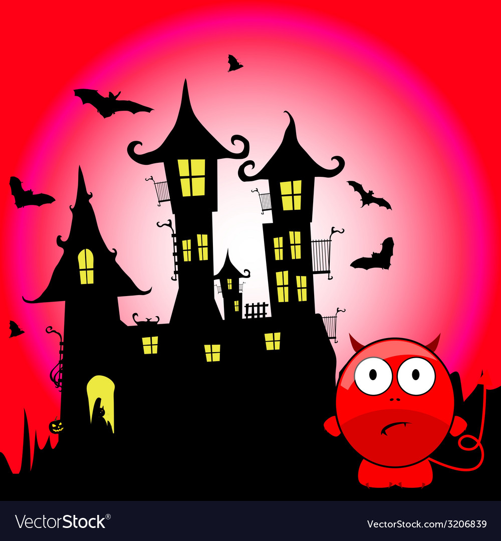 Halloween with devil cartoon vector | Price: 1 Credit (USD $1)