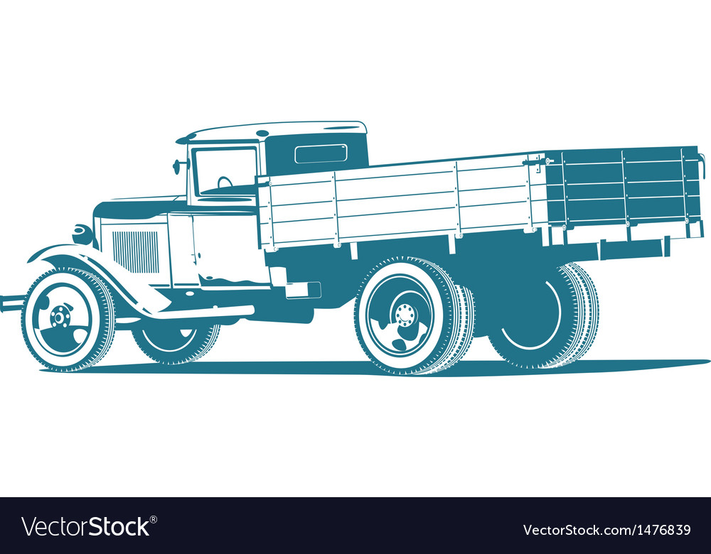 Monochrome retro lorry vector | Price: 1 Credit (USD $1)