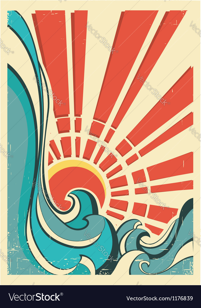 Sea wavesvintage of nature poster with yellow sun vector | Price: 1 Credit (USD $1)