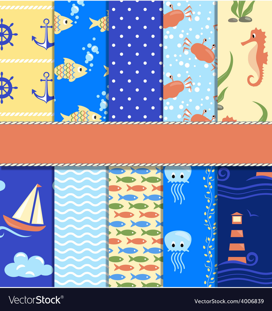 Set of 10 seamless sea patterns vector | Price: 1 Credit (USD $1)