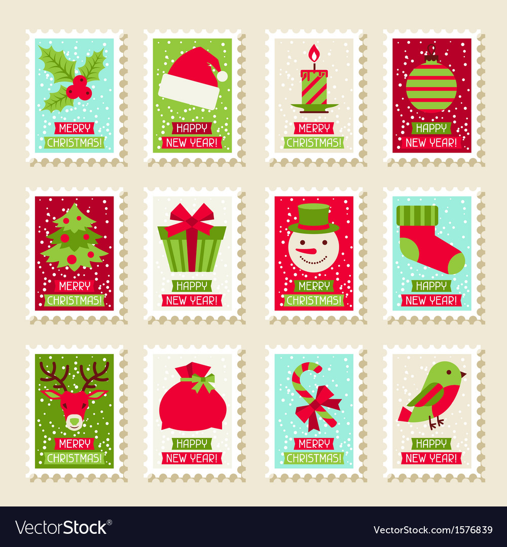 Set of postal stamps with christmas and new year vector | Price: 1 Credit (USD $1)