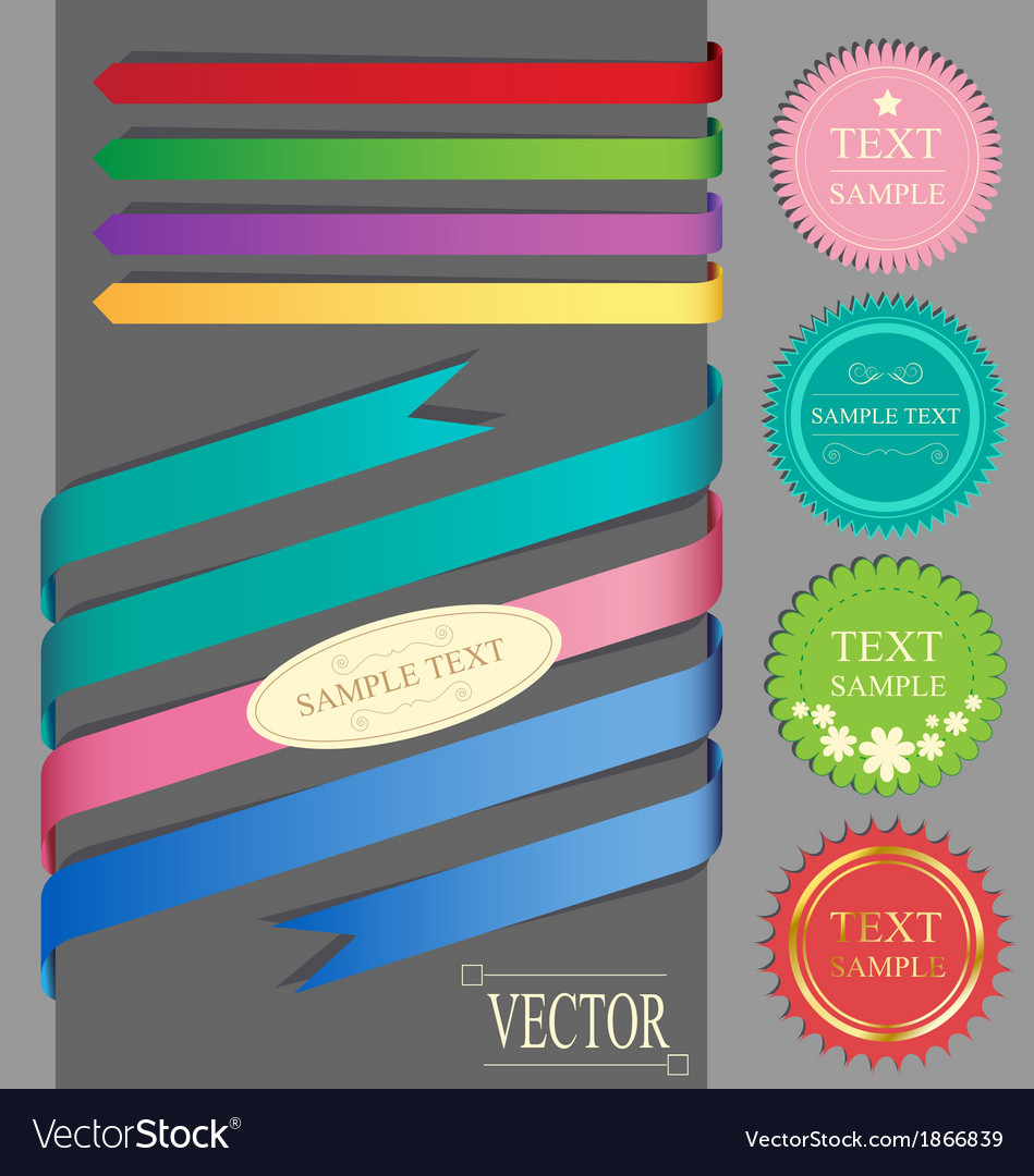 Set of ribbons and labels vector | Price: 1 Credit (USD $1)
