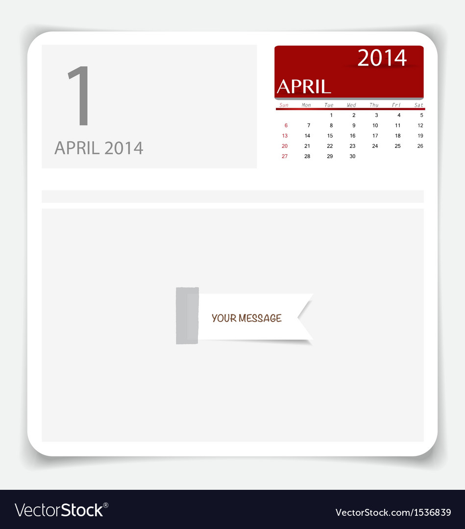 Simple 2014 calendar april vector | Price: 1 Credit (USD $1)