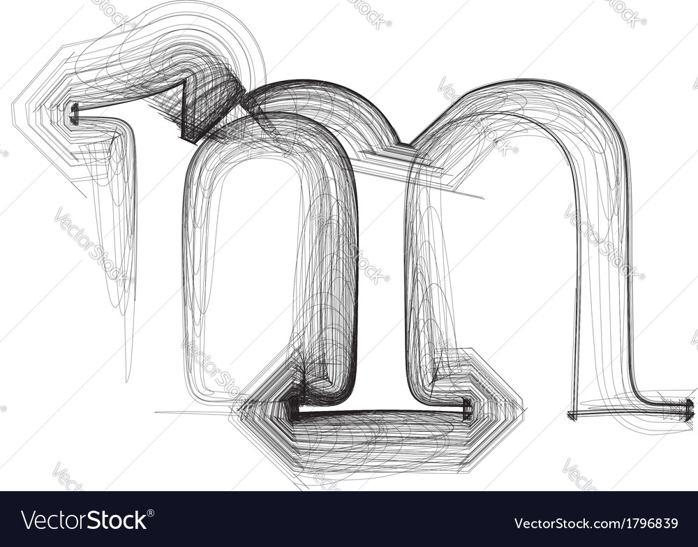 Sketch font letter m vector | Price: 1 Credit (USD $1)