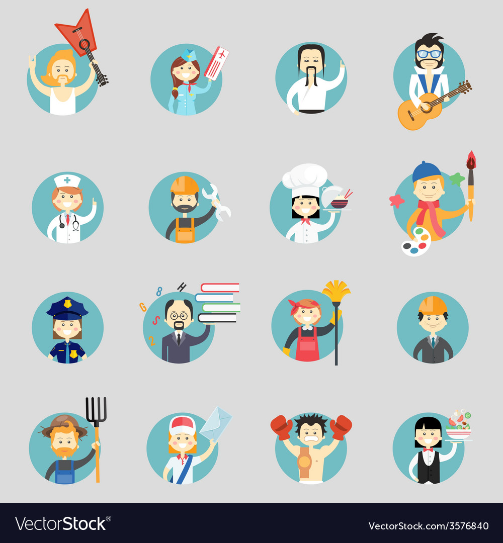 Badges with avatars of different professions vector | Price: 1 Credit (USD $1)