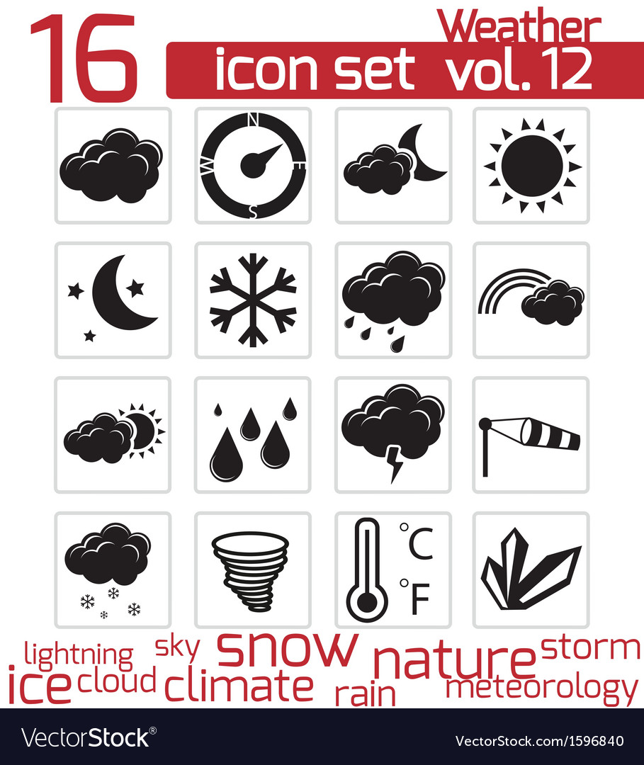 Black weather icons set vector | Price: 1 Credit (USD $1)