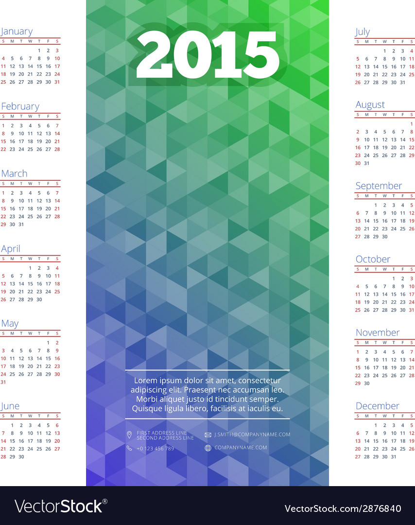 Calendar 2015 template week starts sunday vector | Price: 1 Credit (USD $1)