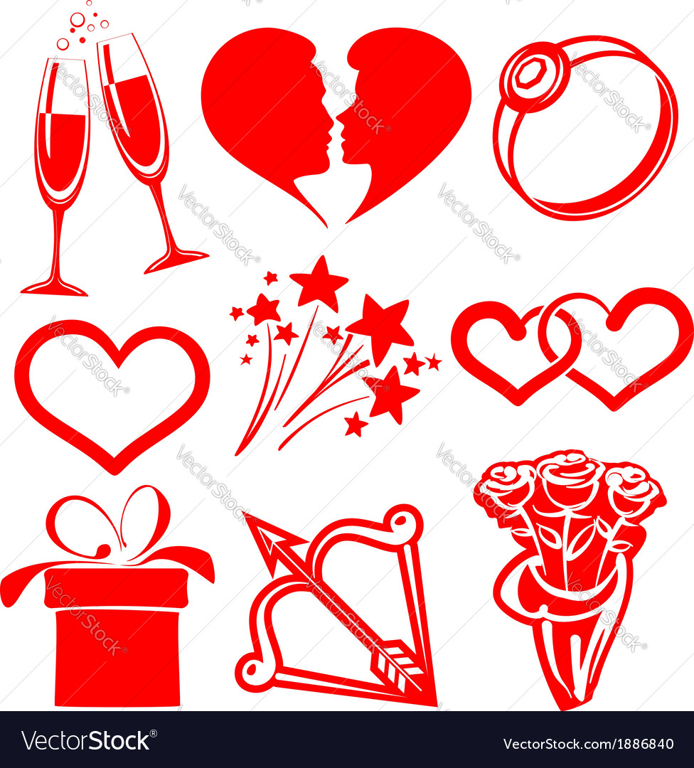 Collection icon valentine day vector | Price: 1 Credit (USD $1)