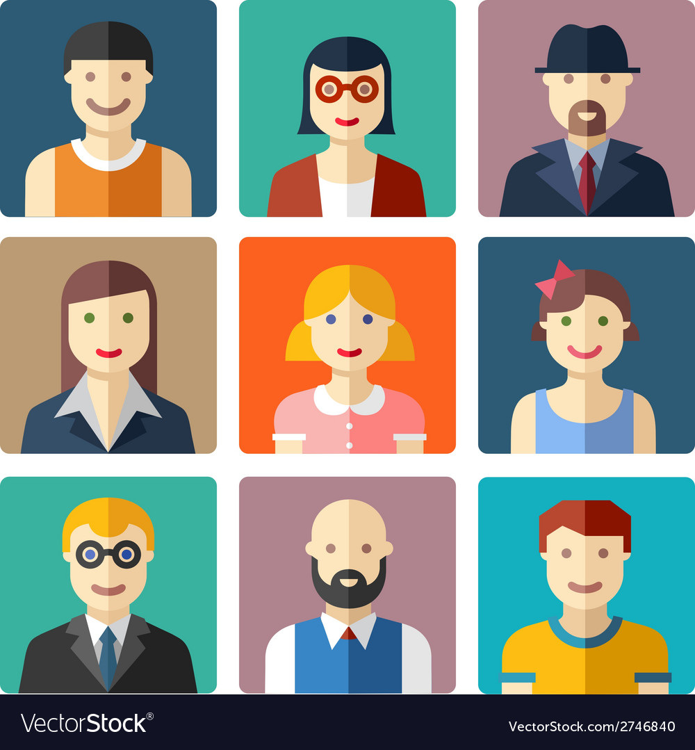 Flat avatar icons faces people icons vector | Price: 1 Credit (USD $1)