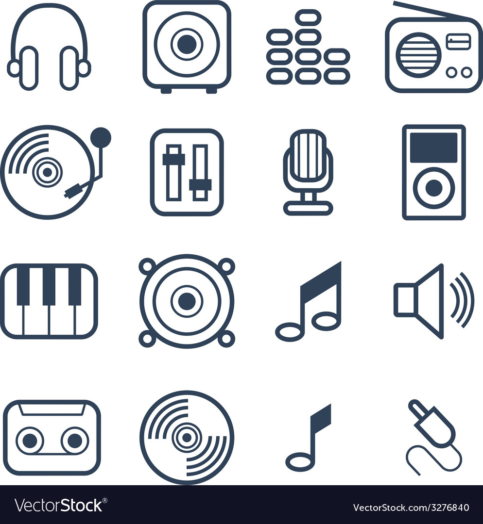 Music icons with white background vector | Price: 1 Credit (USD $1)