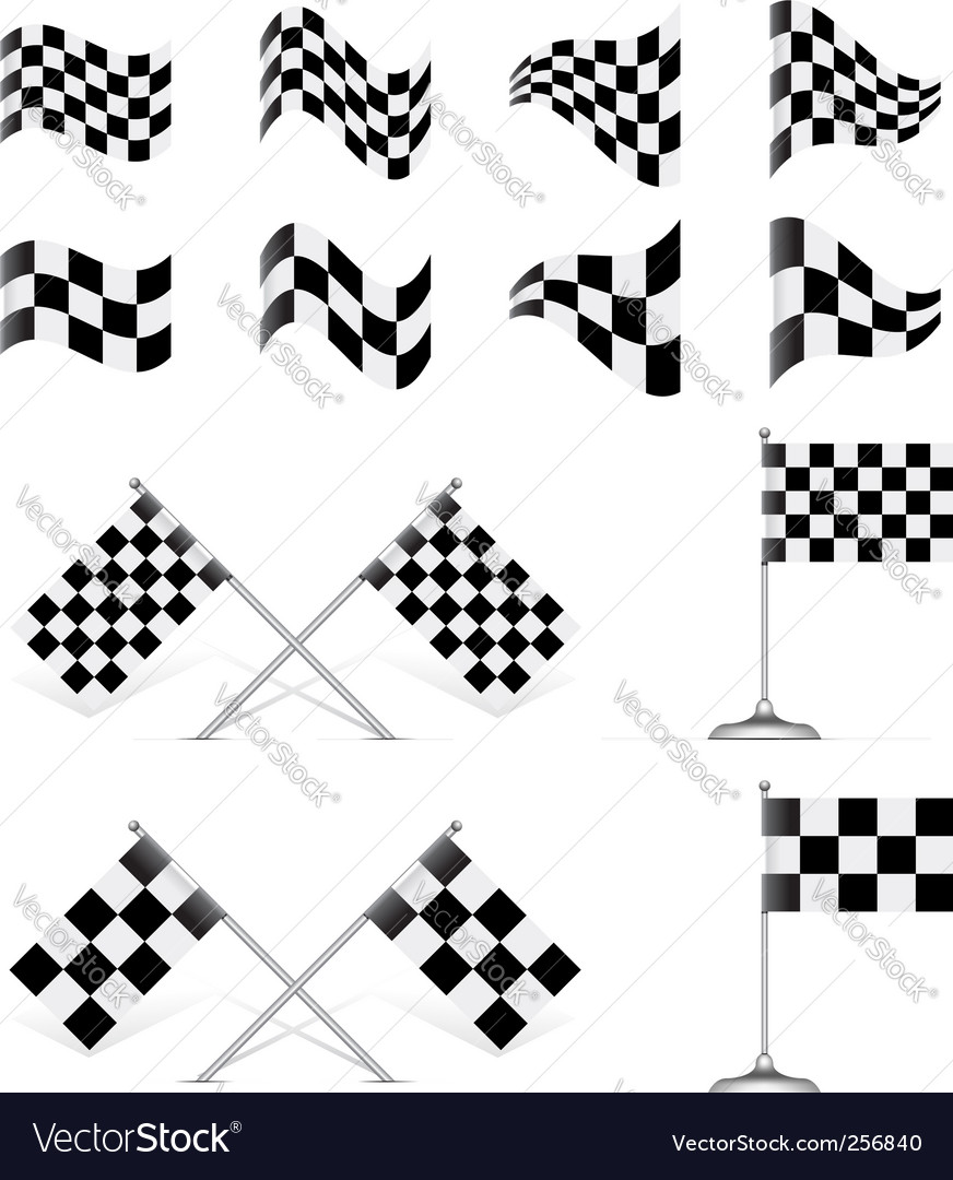 Racing flags set vector | Price: 1 Credit (USD $1)