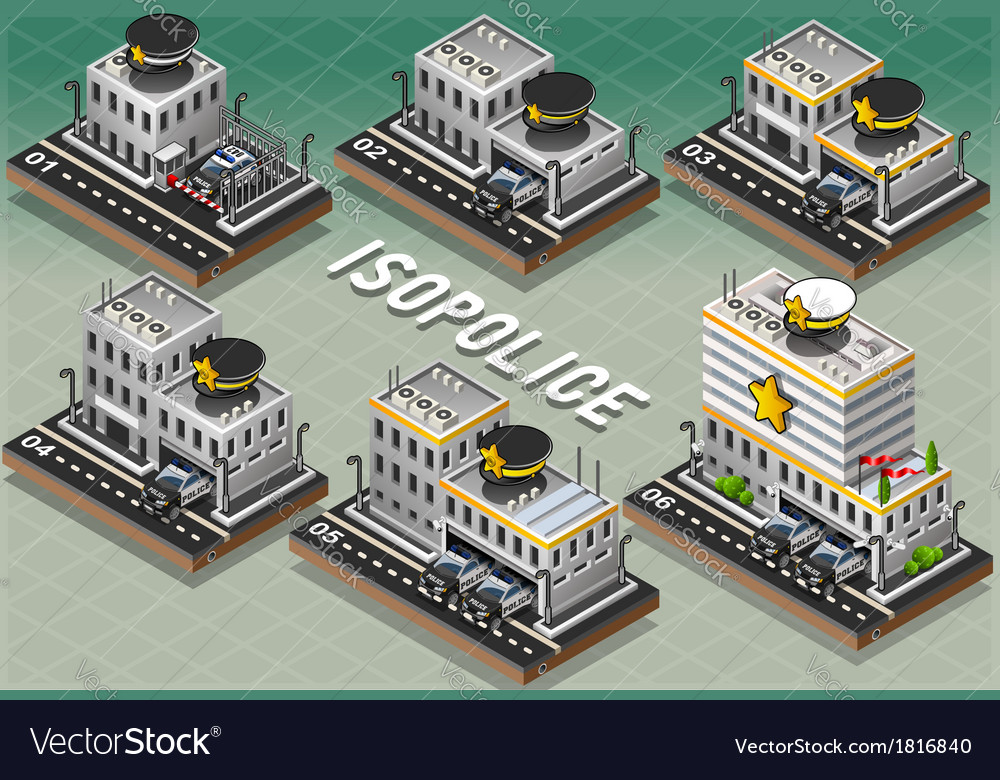Set of isometric police stations vector | Price: 1 Credit (USD $1)