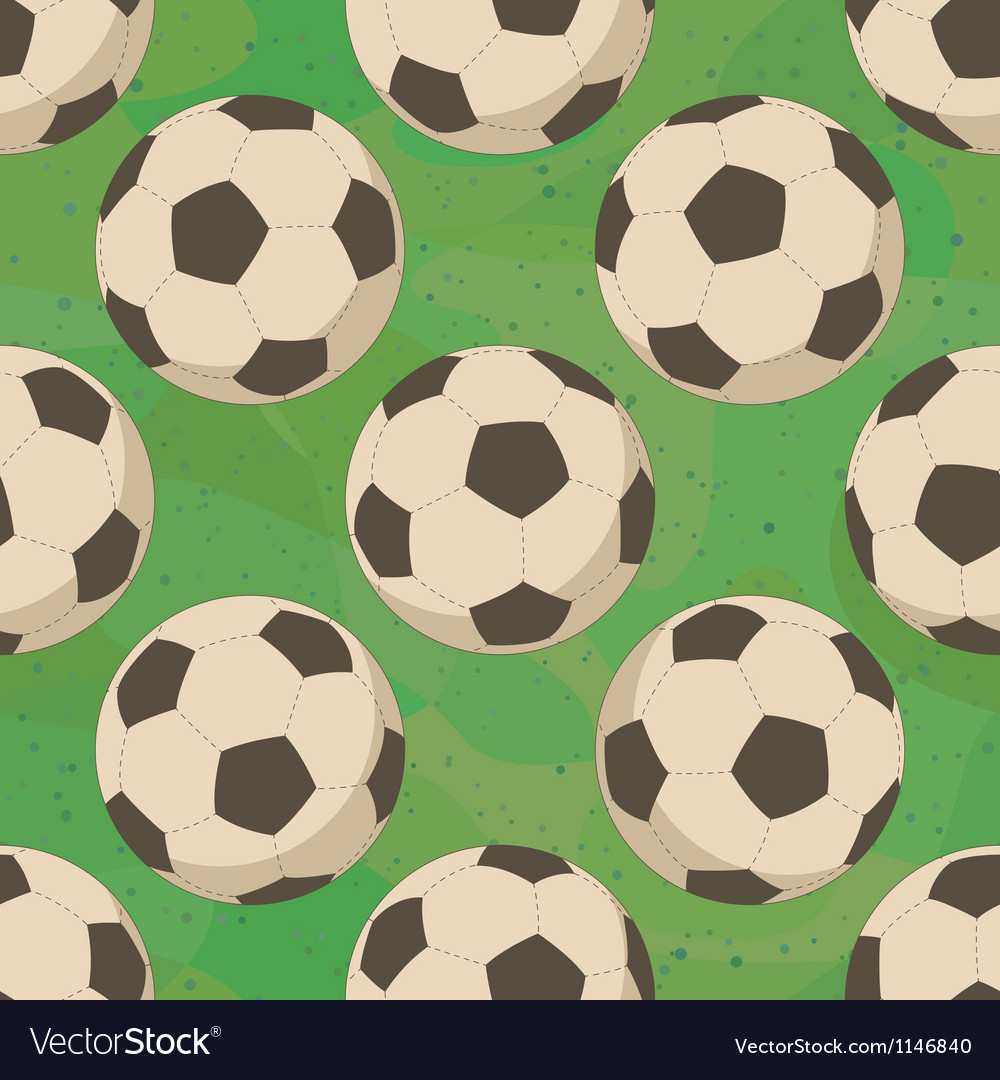 Soccer balls on grass seamless vector | Price: 1 Credit (USD $1)