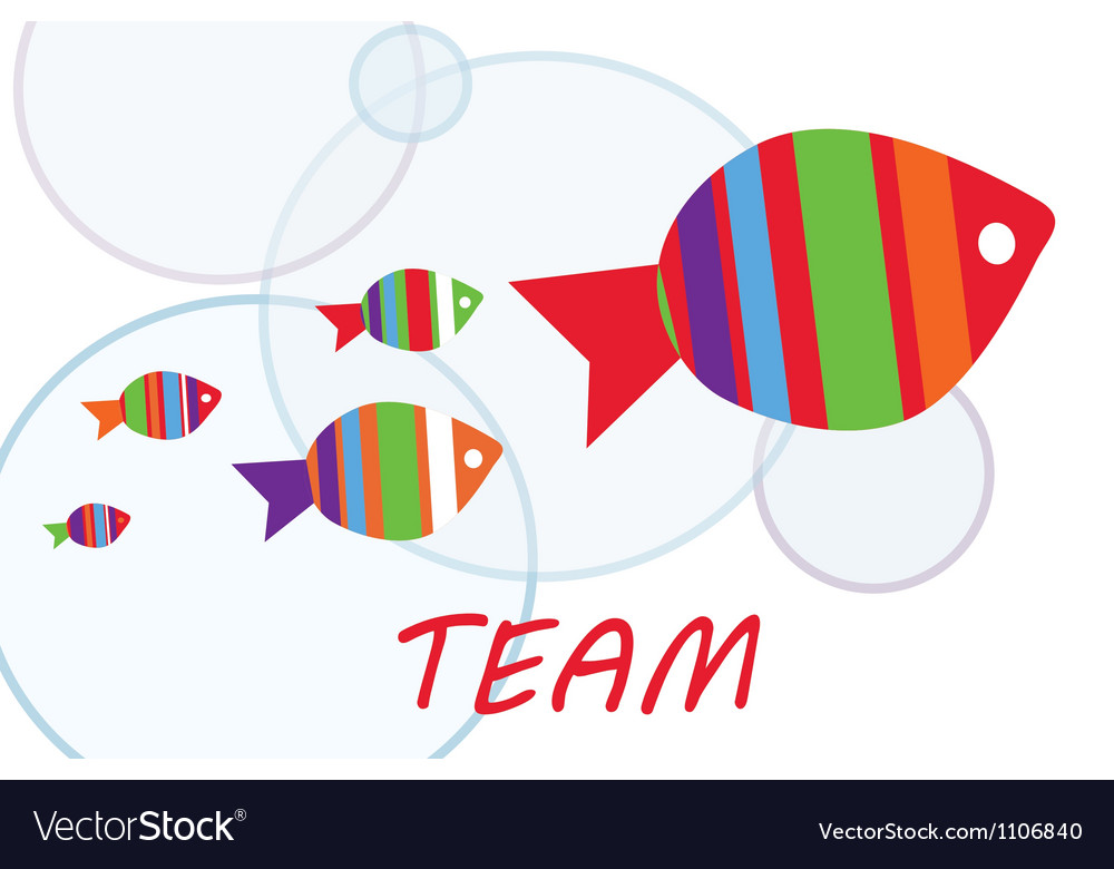 Team group work with fishes vector | Price: 1 Credit (USD $1)