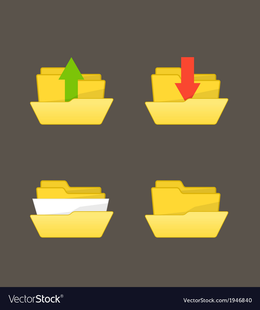 Yellow folders with different stuff vector | Price: 1 Credit (USD $1)