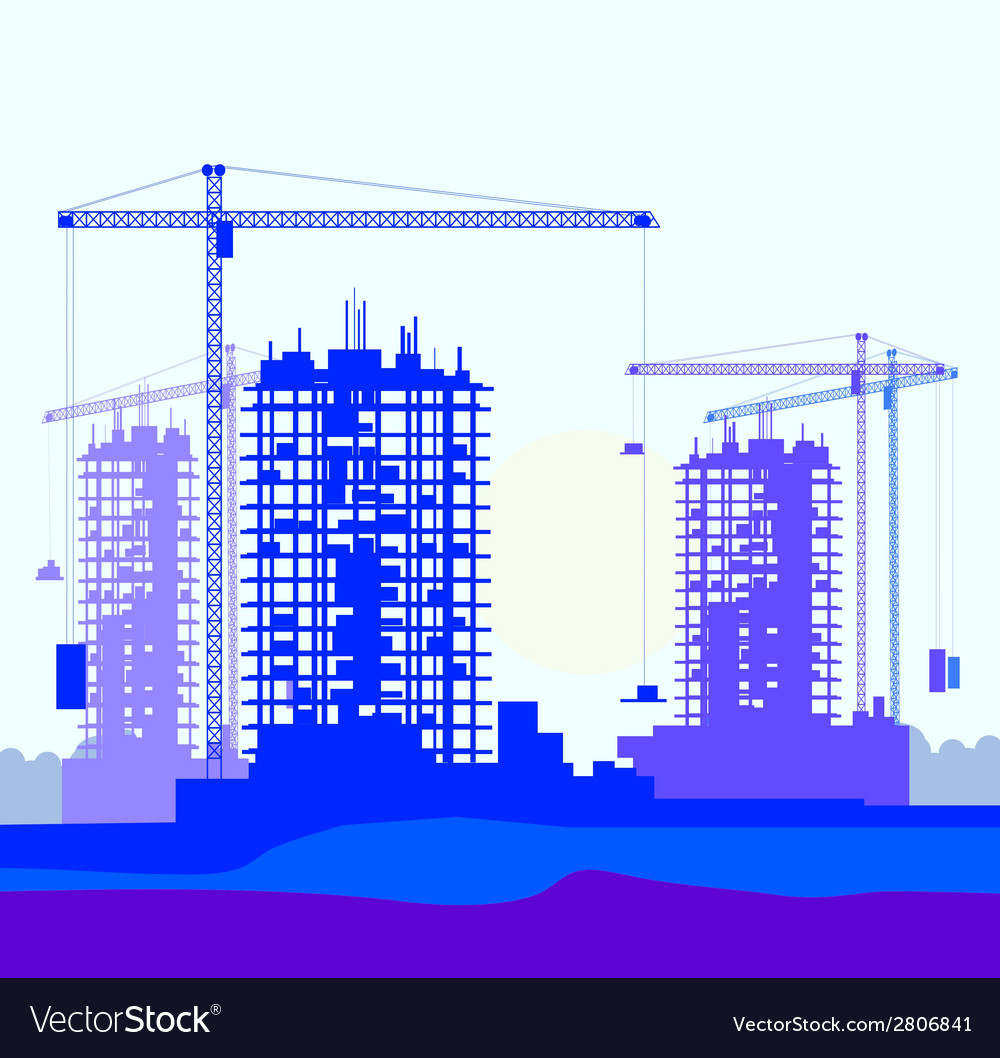 Banner of construction site with cranes vector | Price: 1 Credit (USD $1)