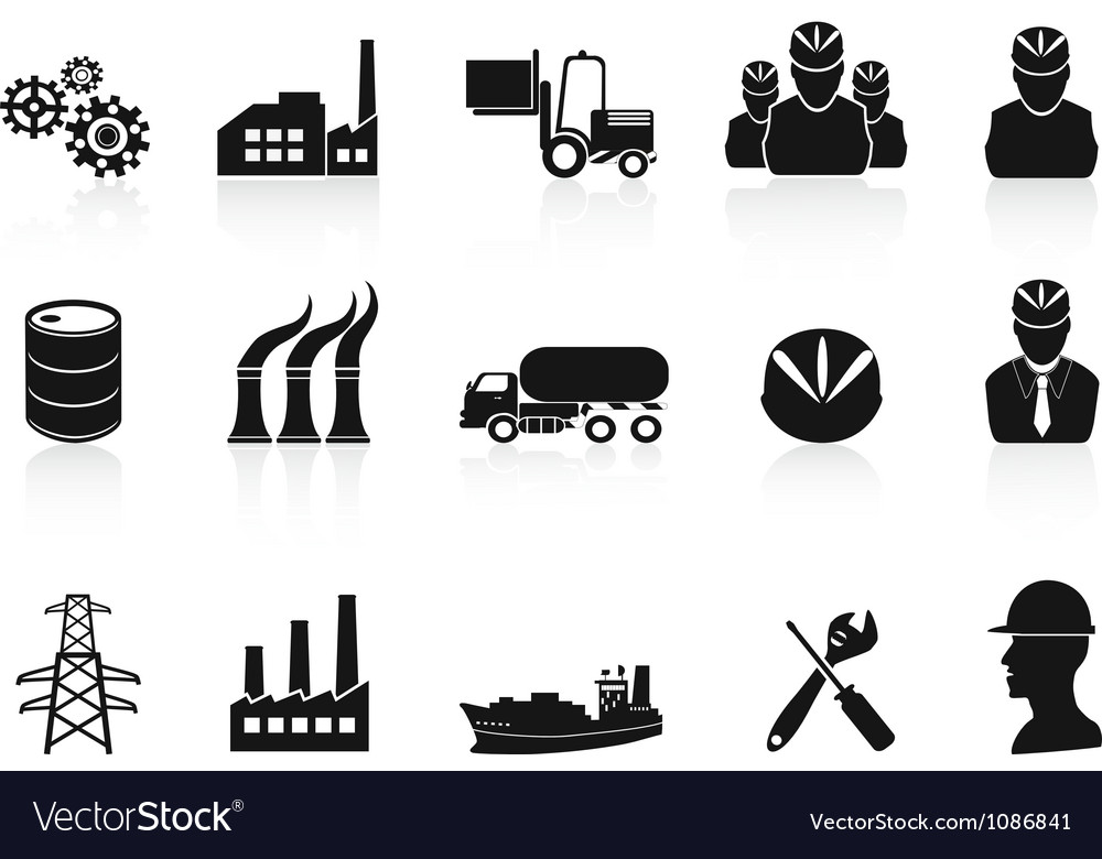 Black industry icons set vector | Price: 1 Credit (USD $1)