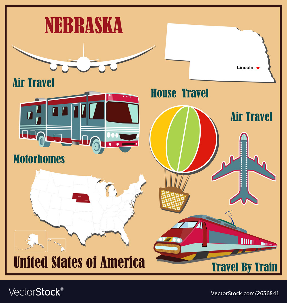 Flat map of nebraska vector | Price: 1 Credit (USD $1)