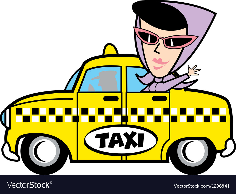 Girl in taxi vector | Price: 1 Credit (USD $1)