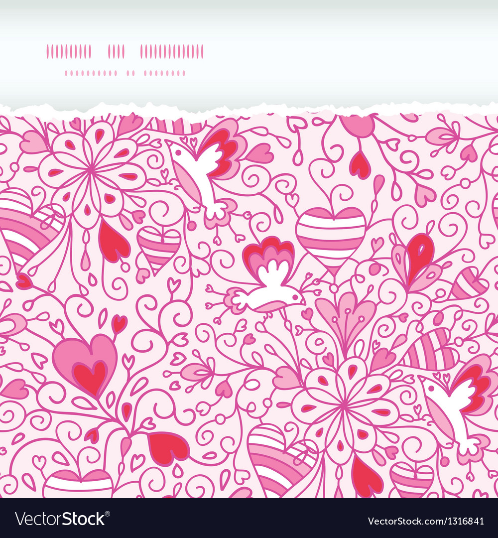 Love garden horizontal torn paper pattern vector | Price: 1 Credit (USD $1)