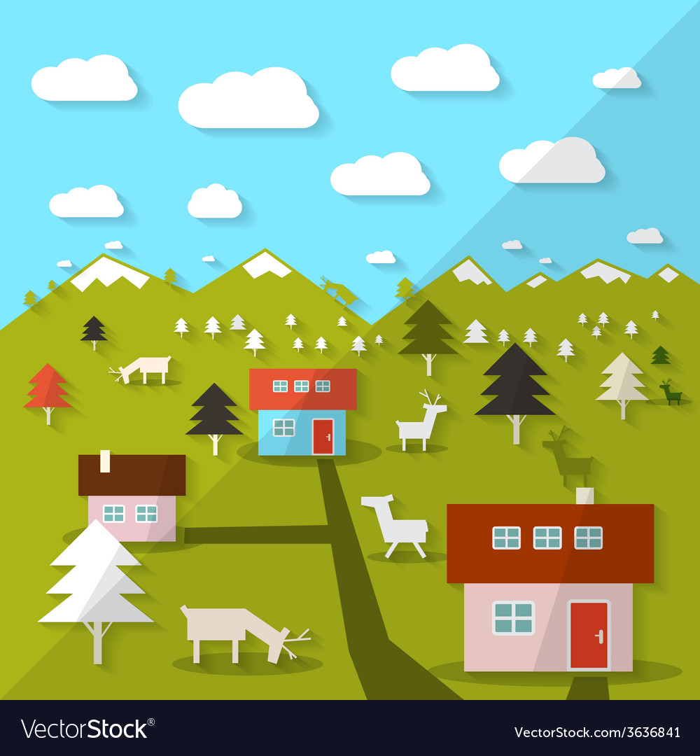 Rural mountain landscape vector | Price: 1 Credit (USD $1)