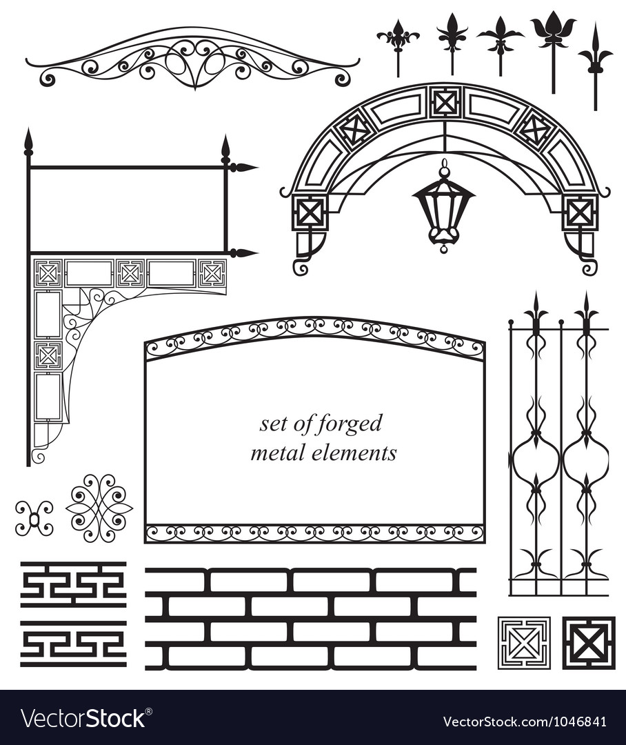 Set of forged metal elements vector | Price: 1 Credit (USD $1)