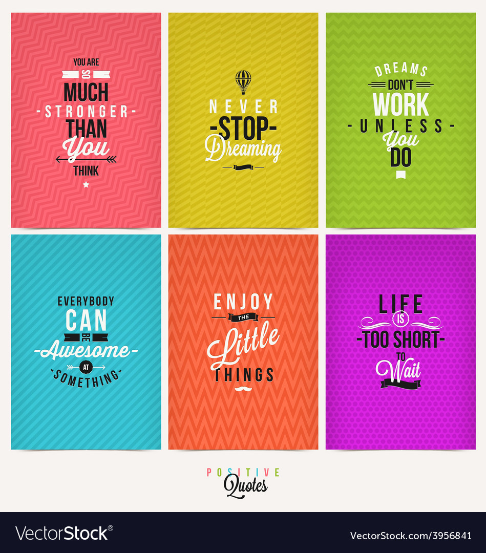 Set of positive quote typographical background vector | Price: 1 Credit (USD $1)