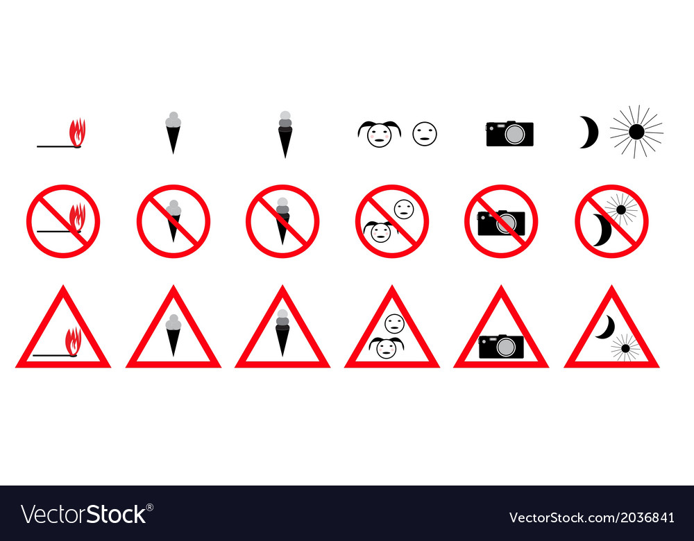 Set of prohibition signs vector   Price: 1 Credit (USD $1)