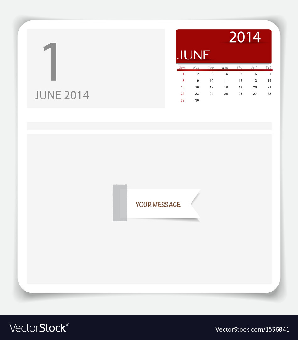 Simple 2014 calendar june vector | Price: 1 Credit (USD $1)