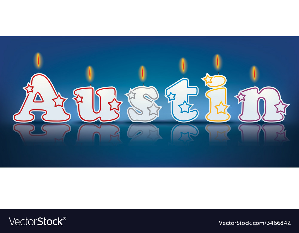 Austin written with burning candles vector | Price: 1 Credit (USD $1)
