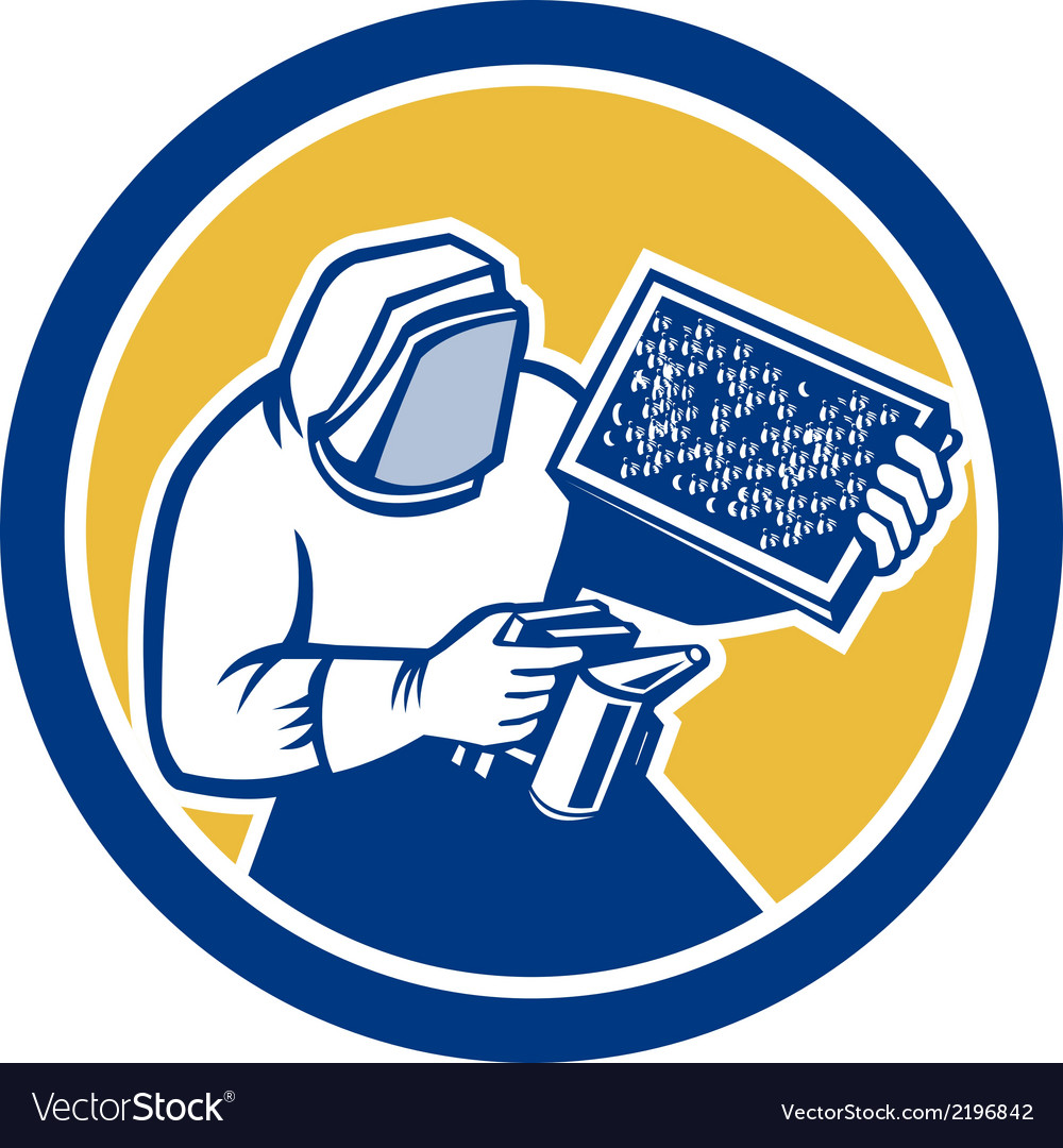 Beekeeper honey farmer bee smoker circle retro vector | Price: 1 Credit (USD $1)