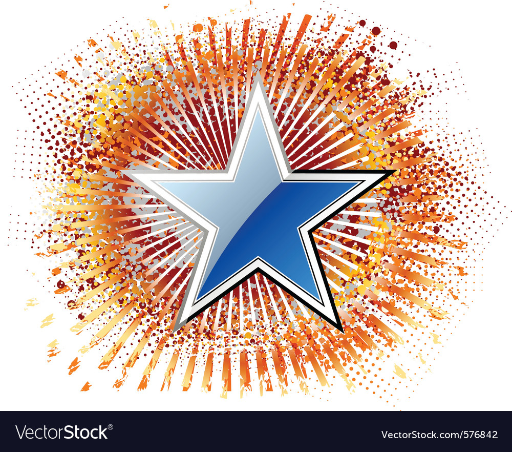 Blue star on the red background vector | Price: 1 Credit (USD $1)