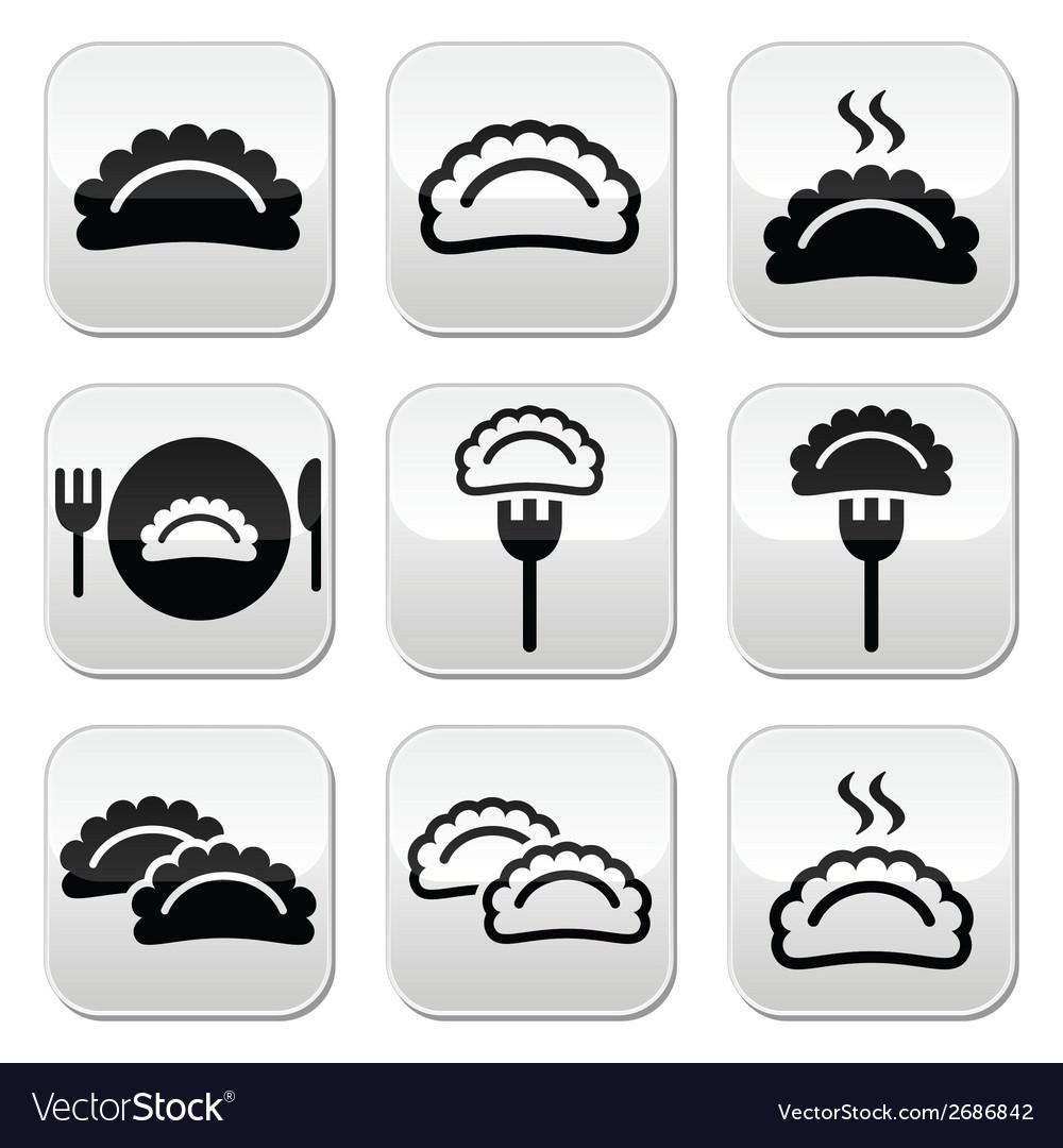 Dumplings food buttons set vector | Price: 1 Credit (USD $1)