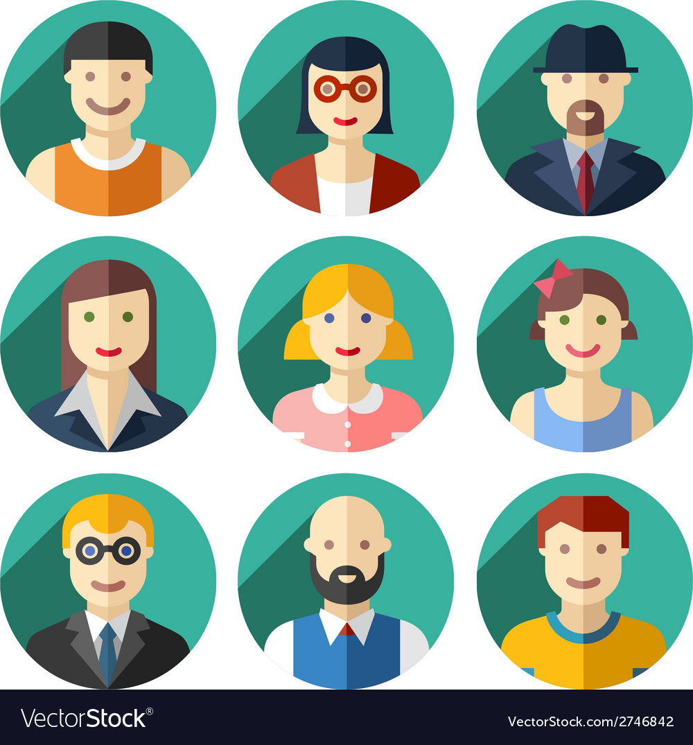 Flat round avatar icons faces people icons vector | Price: 1 Credit (USD $1)