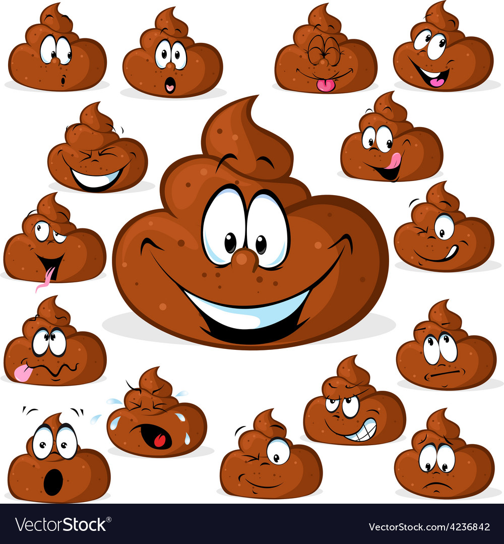 Funny poo with many expressions isolated on white vector | Price: 1 Credit (USD $1)