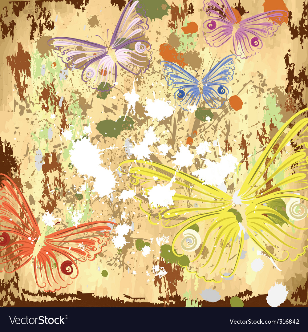 Grunge background with butterflies vector | Price: 1 Credit (USD $1)
