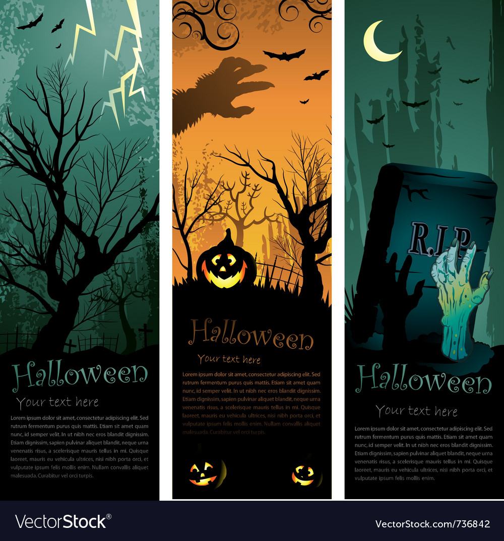 Halloweens vertical banners vector | Price: 1 Credit (USD $1)