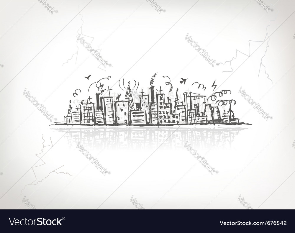 Industrial cityscape sketch vector | Price: 1 Credit (USD $1)