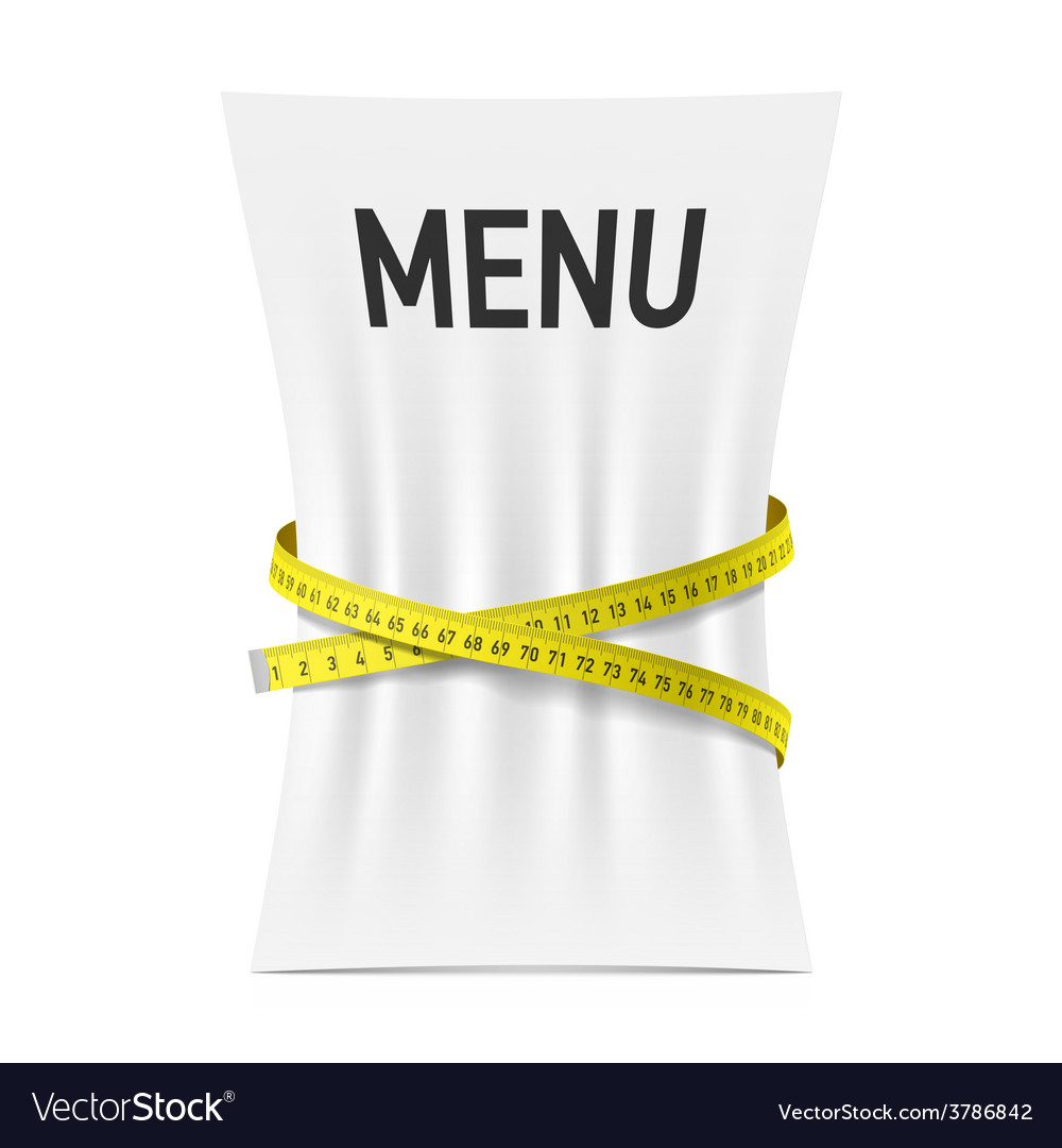 Menu squeezed by measuring tape vector | Price: 1 Credit (USD $1)
