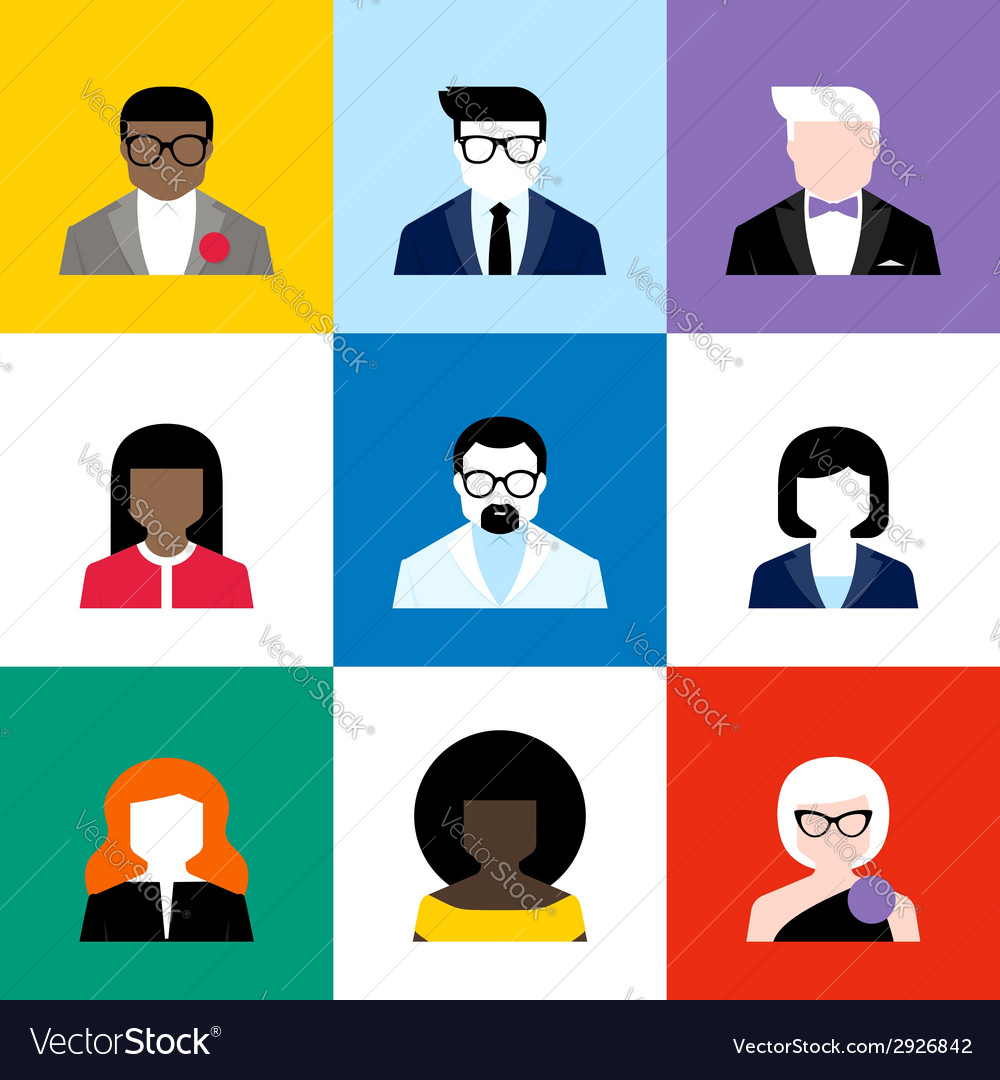 Modern flat avatars set male and female user icons vector | Price: 1 Credit (USD $1)