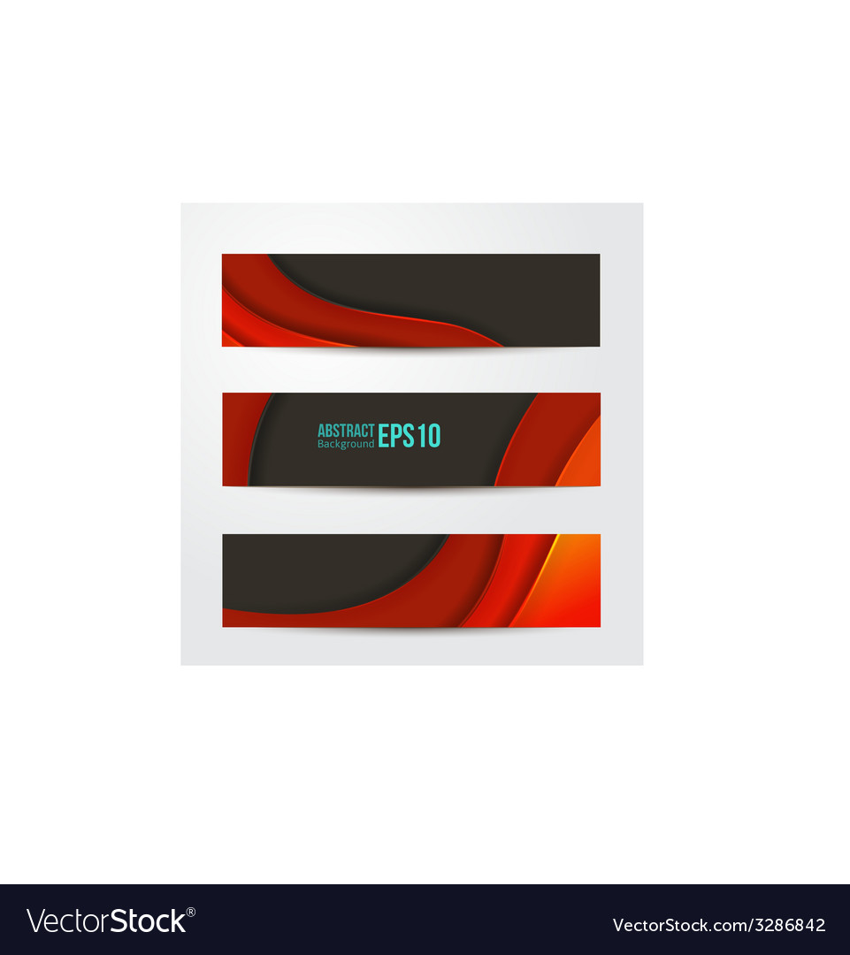 Set of abstract red banners three background vector | Price: 1 Credit (USD $1)